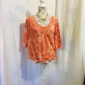 Lucky Brand Orange Tan Tie Front Knit Top Small